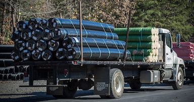 Truck with American made geotextile fabric