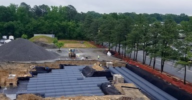 HDPE stormwater system installed below business development