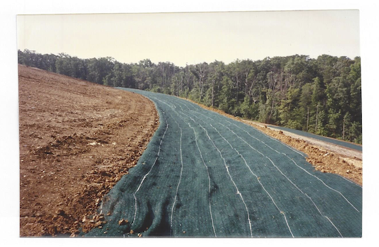 Permanent erosion control blanket installation