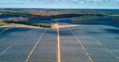 Solar panels on renewable energy project in Virginia